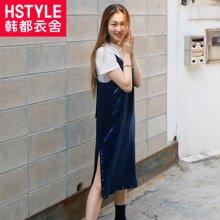 韩都衣舍2018韩版女装夏装新款宽松纯色显瘦吊带连衣裙DU7351.樱