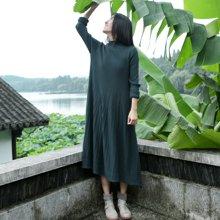 素缕春装2018新款女文艺中长裙子高领针织连衣裙SL517122栐