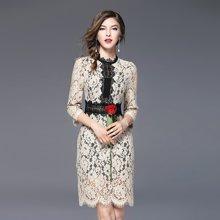 法米姿 春季新品蕾丝拼接连衣裙气质修身七分袖短裙 97066