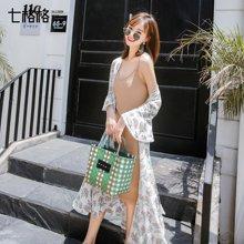 新品 七格格 chic韩版修身针织吊带连衣裙女士夏装2018新款打底百搭中长款裙子