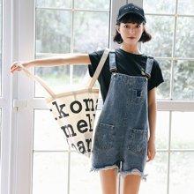 因由夏季新款韩版甜美气质显瘦口袋毛须边牛仔背带裤女XM-C23