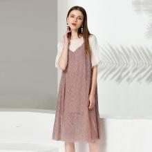 亿族 2018夏季新款大码女装胖MM宽松遮肚假两件中长款连衣裙