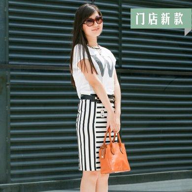 时尚条纹包裙 1505r12-s-黑白条纹