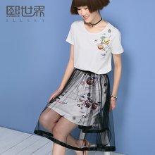 熙世界短袖连衣裙女夏装新款白色印花半身裙套装女102SZ413