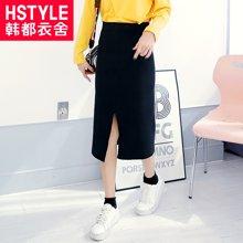 韩都衣舍2018韩版女装春新款针织打底纯色中长半身裙EQ7128婋