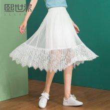 熙世界韩版中长款半身裙女2018春新款通勤纯色蕾丝裙子107LQ035