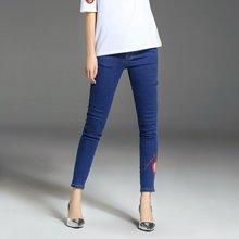 法米姿 新款弹力显瘦韩版女装心型刺绣小脚牛仔裤潮 97167