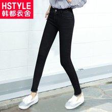 韩都衣舍韩版女装新款修身纯色毛边小脚牛仔裤