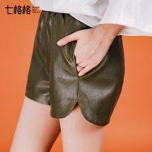 七格格 阔腿PU短裤女新款韩版百搭复古宽松高腰显瘦皮裤子女潮