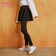 春装修身弹力黑色加绒外穿假两件裙裤打底裤子长裤裙女-