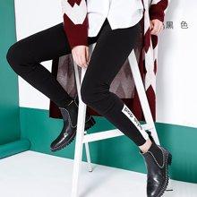 初语打底裤女2017年冬季新款字母印花弹力修身小脚黑色打底休闲裤8742031003