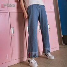 PASS2018春装新款裤脚拼接牛仔裤女宽松bf风阔腿裤直筒chic裤学生