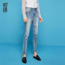 初语夏季新款 韩版刺绣水洗破洞补丁牛仔长裤女显瘦8821815036
