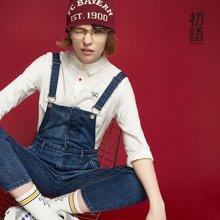 初语新款破洞牛仔背带裤女2018春时尚减龄水洗牛仔裤宽松长裤潮8721815025a