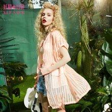 妖精的口袋短袖外套夏装宽松圆领条纹chic中长款原宿时尚直筒上衣女-