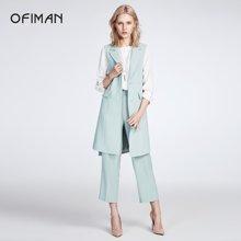 Ofiman奥菲曼2018夏新品薄荷绿ol马甲外套通勤原创西装领长马夹女D4-S8549-DF