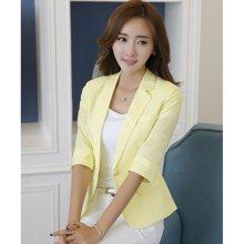 亿族 2018春夏装新款韩版职业亚麻小西装薄款七分袖修身棉麻女装小西装外套 8308YZ