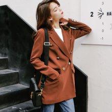 新品 七格格 中长款外套女春秋百搭韩版修身显瘦长袖双排扣小西装潮