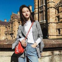 9.9新品 七格格 格子小西装女士外套复古长袖休闲中长款韩版帅气新款服上衣