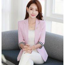 亿族 2018春夏装新款韩版休闲七分袖亚麻西服外套一粒扣女西装上衣 YS1706