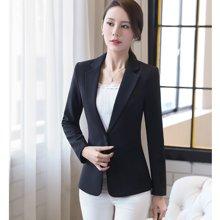 亿族 2018四季新款修身一粒扣西服外套纯色长袖大码女装小西装上衣 SA9805