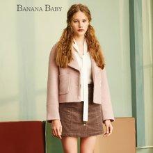 BANANA BABY新款呢大衣甜美纯色修身短款毛呢外套女D64W058