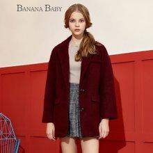 BANANA BABY秋冬款西装领直筒宽松中长款毛呢外套女加绒呢子大衣D54D818