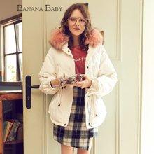 BANANA BABY新款韩版时尚貉子毛领撞色连帽羽绒服女加厚D74Y848
