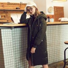 BANANA BABY新款韩版直筒连帽棉衣外套女中长款保暖棉服D74A842