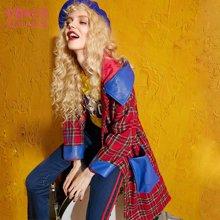 妖精的口袋 格格盛典 秋季长款宽松撞色大口袋带帽毛呢外套
