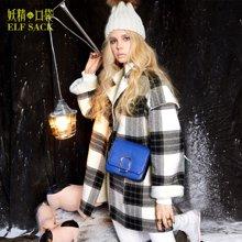 妖精的口袋B惹人感怀冬装学院格子呢子大衣羊羔绒毛呢外套女长款