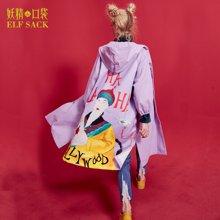 妖精的口袋 告别末代 秋季廓形趣味印花带帽风衣