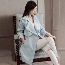 轩品媛  中长款长袖外套2017秋季新款纯色收腰百搭风衣  X70436