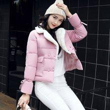 亿族 冬装新款韩版短款双排扣羊羔毛羽绒棉服纯色女棉衣棉服外套
