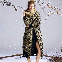 洛樊欧美冬季新款羽绒服 长款修身高档保暖外套羽绒服女LFGD0629450