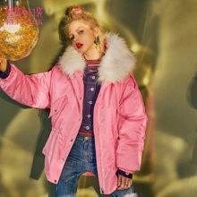 妖精的口袋冬装甜美外套休闲保暖面包服连帽毛领羽绒服中长款女-