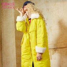 冬装宽松上衣chic外套修身面包服保暖白鸭绒羽绒服长款女