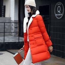 亿族 新款时尚大毛翻领加厚中长款羽绒棉服松紧袖女棉衣外套