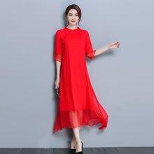 芃拉2018春夏中国风改良旗袍裙民族风红色连衣裙长裙GD9508