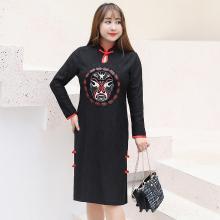 诗铭洛可秋冬新款大码中式中国风旗袍连衣裙复古风女裙1506
