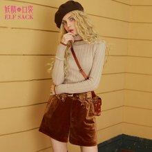 妖精的口袋春装复古chic修身内搭高领丝绒短裤时尚套装两件套毛衣女-746011