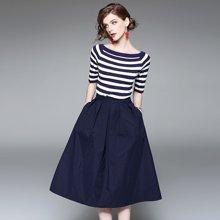 姝奕夏季新款 欧美时尚条纹针织T恤+半身裙套装Q701112