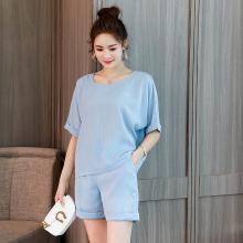 亿族 2018夏季新款宽松短款遮肚子女套装洋气减龄大码女装胖MM两件套