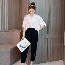 亿族 2018夏季新款大码女装胖MM洋气套装减龄条纹上衣+七分裤两件套