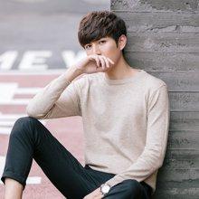 史克维斯春秋季新款男士毛衣薄款潮流纯色修身韩版打底针织衫长袖T恤男装MY611