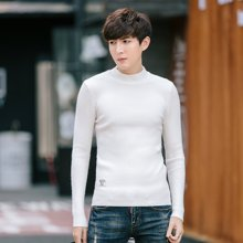 史克维斯男士半高领毛衣套头秋冬季修身白纯色保暖针织衫毛衫韩版MY704