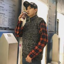 Guuka/古由卡秋季新款套头韩版百搭男装圆领毛衣针织背心衬衫袖假两件毛衣KST-8321