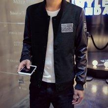 史克维斯男装夹克外套男士韩版休闲修身青年拼接皮棒球领夹克男装J12