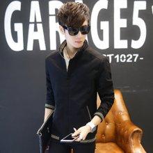 Guuka/古由卡男士外套2018新款修身夹克黑色深蓝色土黄色卡其色潮流纯棉上衣服HX-8913
