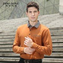 迪仕尼奴商务中年男士长袖T恤翻领 秋装纯色薄款爸爸装POLO衫大码0018